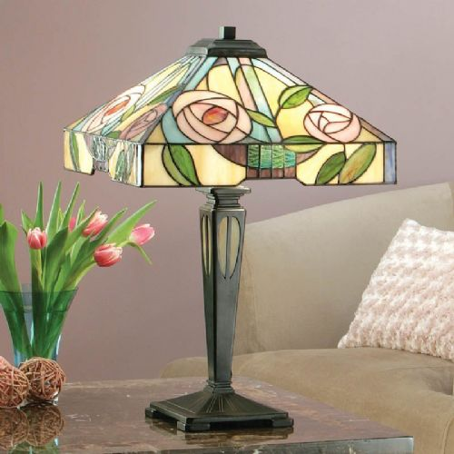 Willow Table Lamp (Art Nouveau, Mackintosh, Nature, Medium Table Lamp) TG106T (Tiffany style)